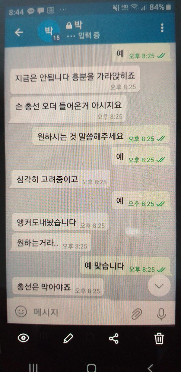 프리랜서 기자 김웅과 조주빈이 주고 받았다는 텔레그램 대화 내용/김웅 유튜브 채널