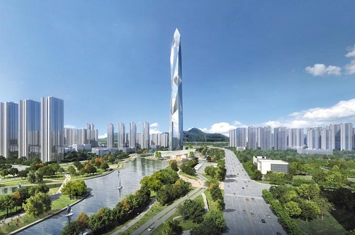 한양이 인천에 짓는 초고층 전망 타워 '청라시티타워'의 완공 후 예상 모습. 한양은 주택 시공 중심이던 사업 구조를 에너지, 개발 사업 등으로 다각화하고 있다. /한양 제공