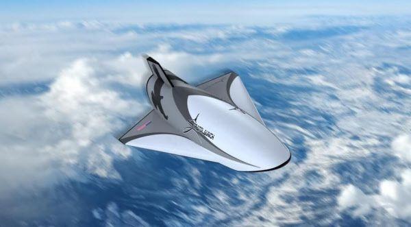 지상 최대의 항공기 스트라토론치에 실려 공중에서 발사된 극초음기 탈론 A 상상도. 마하 6까지 비행하고 활주로에 자동착륙할 수 있다./스트라토론치 시스