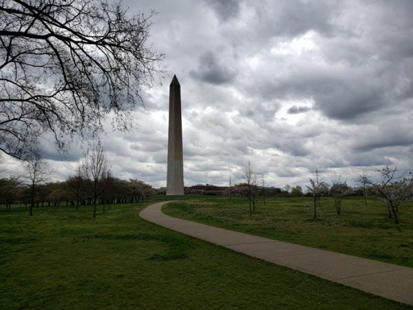 31일(현지시각) 워싱턴DC의 '내셔널 몰'공원의 모습. 외출 금지령이 내려진 뒤시민들이나 관광객들이 거의 없어 적막할 정도였다. /워싱턴=조의준 특파원