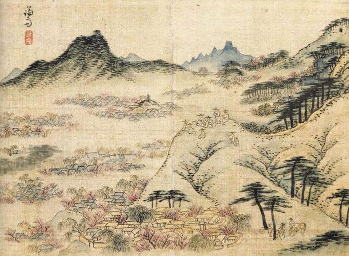 겸재 정선의 18세기 그림 '필운대 상춘도'.
