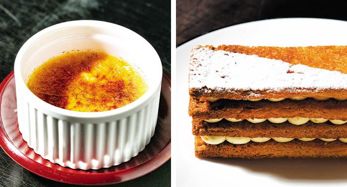 프랑스 전통 디저트 '크림브륄레(왼쪽)'. 표면을 설탕으로 캐러멜라이징해 톡 깨트려 먹는 맛이 있다. 오른쪽은 '천 겹의 잎사귀'라는 뜻의 밀푀유. 남은 식빵을 납작하게 눌러서 구워 사용하면 바삭하면서도 폭신한 맛을 느낄 수 있다.