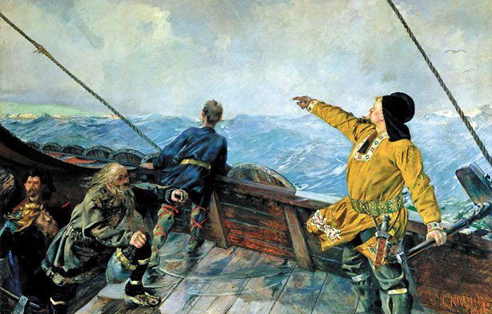 노르웨이 화가 크리스티안 크로스가 1893년에 그린 '레이프르 에릭손 미국을 발견하다'.