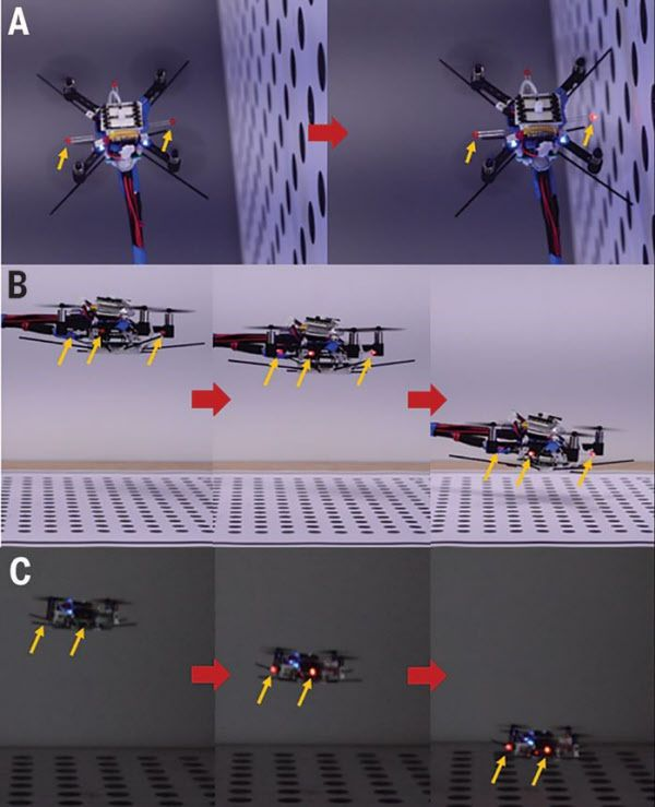 모기를 모방한 센서를 장착한 드론의 비행 장면. 벽(맨 위)이나 지면(중간, 아래)에 근접하면 공기압력의 변화를 센서가 감지해 붉은 경고등(화살표)를 켠다. 덕분에 어둠(아래) 속에서도 안전한 비행을 할 수 있다./Science