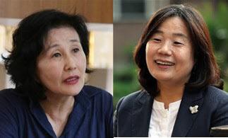 전여옥(왼쪽 사진) 전 새누리당 의원과 윤미향 더불어시민당 당선자 /조선DB