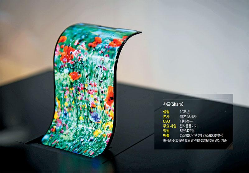 2018년 샤프가 선보인 휘어지는 유기발광다이오드(OLED) 표시장치.