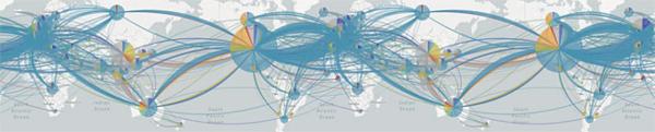 게놈 분석 국제 프로젝트 '넥스트스트레인'의 시각화 툴에 코로나19 바이러스 확산 흐름을 표시한 그림. 유럽에서 퍼진 바이러스(하늘색)가 가장 많다는 사실을 알 수 있다./ 넥스트스트레인
