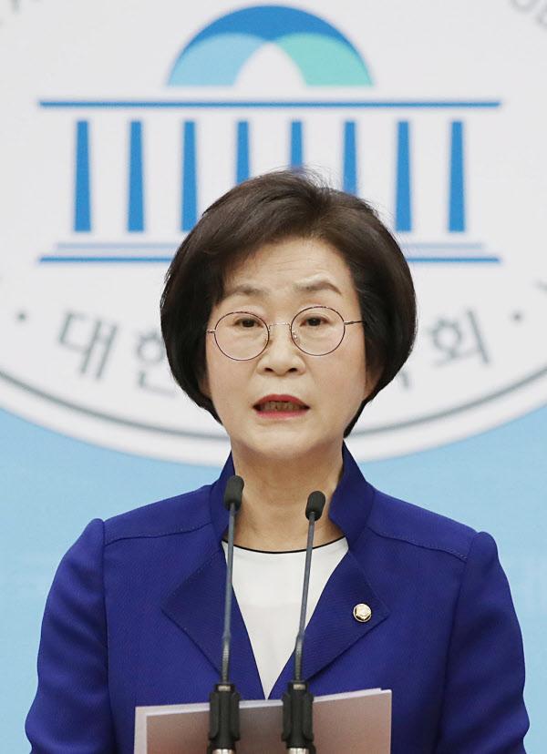 김상희 더불어민주당 의원이 15일 서울 여의도 국회 소통관에서 국회부의장 출마 선언을 하고 있다./뉴시스