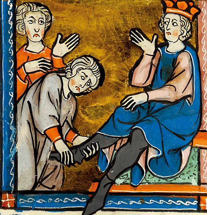 프랑스 국왕 샤를 3세(879~929년)에게 바이킹 우두머리인 롤롱이 충성 맹세를 하는 장면. 국왕의 발에 키스하도록 강요당한 롤롱이 자신의 부하를 부르고 있다. 부하가 국왕의 발을 잡고 들어 올려 국왕을 쓰러뜨린 다음 그 발에 대신 키스를 했다고 한다.' 중세 및 르네상스 필사본'에서 샤를 3세 통치와 관련한 부분의 삽화./ 모건 라이브러리 앤드 뮤지엄