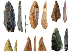불가리아 동굴에서 발굴된 약 4만6000년 전 호모사피엔스의 도구들.