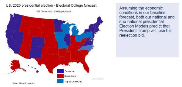 트럼프 대통령이 오는 11월 재선에서 패배할 것이라는 분석/옥스퍼드 이코노믹스