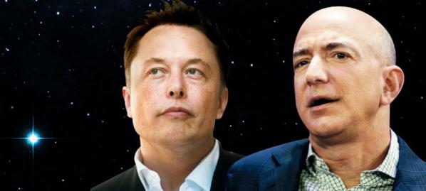 왼쪽부터 일론 머스크 테슬라 최고경영자(CEO)와 제프 베이조스 아마존 CEO. /조선DB