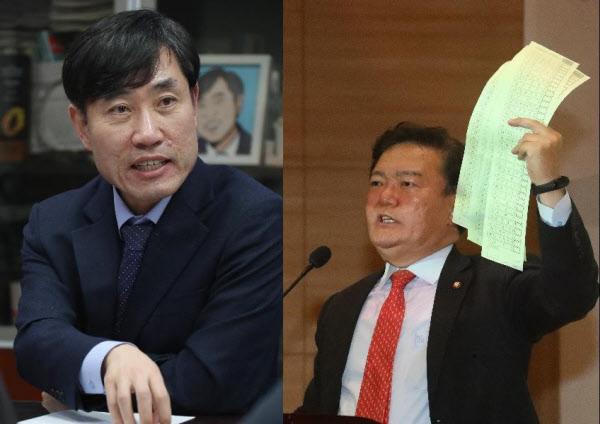 미래통합당 하태경(왼쪽), 민경욱(오른쪽) 의원. /이덕훈 기자