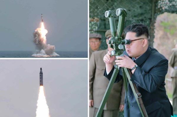 김정은이 2016년 잠수함발사 탄도미사일(SLBM) 수중시험발사를 보는 모습. /연합뉴스