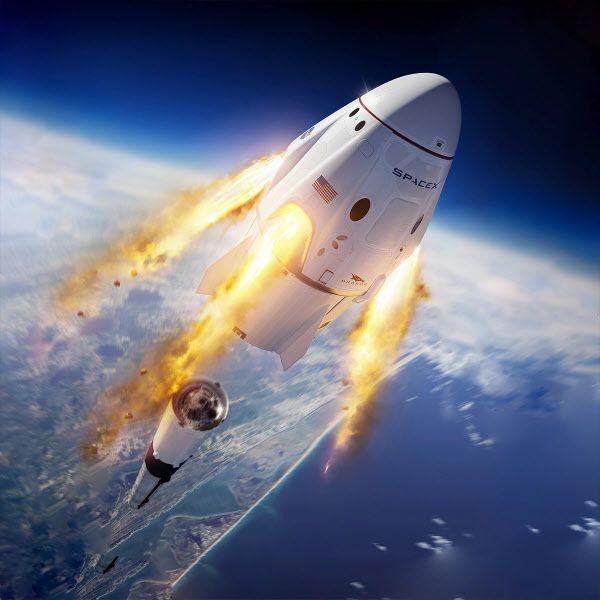 미국 우주업체 스페이스x의 유인 우주선 드래건이 우주로 발사되는 상상도,/스페이스x