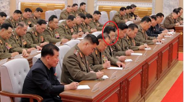 정경택(붉은원)국가보위상이 당중앙군사위 7기4차 확대회의에서 앞줄에 앉아 있는 모습/노동신문/뉴스1