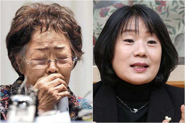 일본군 '위안부' 피해자 이용수 할머니와 더불어민주당 윤미향 당선자./조선일보DB, 연합뉴스