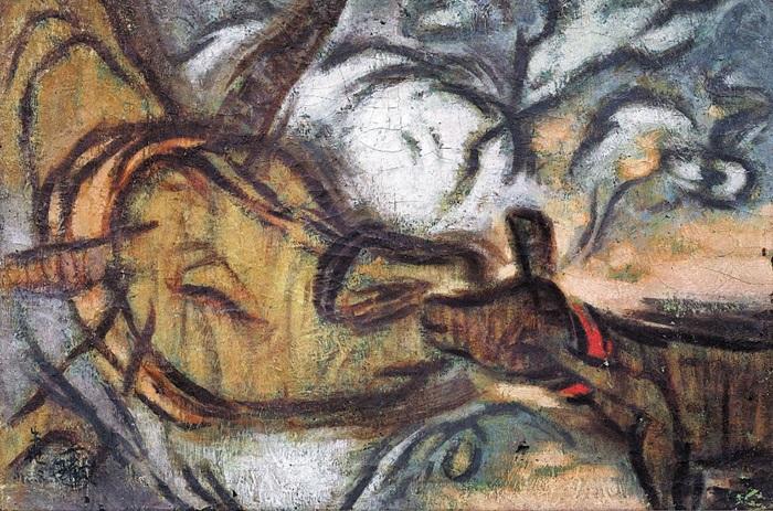 진환의 대표작인 '우기(牛記)8'. 진환 연구자들에 따르면 이중섭의 소 그림에 영향을 줬을 것으로 보인다.