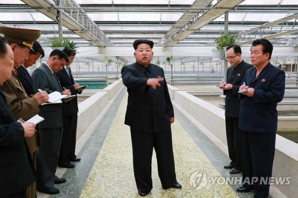 김정은 위원장이 지난 2015년 5월 대동강 자라공장을 시찰하며 부실한 공장 관리 상태를 지적하고 있다./연합뉴스