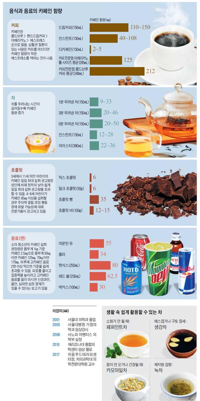 음식과 음료의 카페인 함량 / 생활 속 쉽게 활용할 수 있는 차