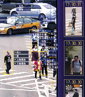 중국 안면인식 기술 업체 센스타임이 개발한 감시카메라에서 행인의 성별과 옷차림에 대한 정보가 실시간으로 감지되고 있는 모습.