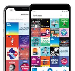 애플의 스마트폰 앱인 팟캐스트 화면.