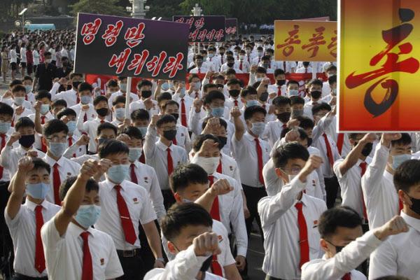 지난 8일 평양 김일성 광장에서 열린 대남 규탄 시위 /AP 연합뉴스