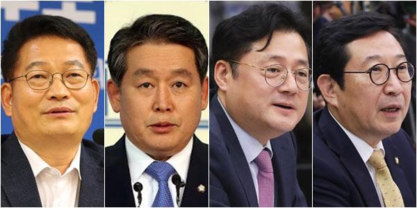 왼쪽부터 더불어민주당 송영길, 김경협, 홍익표, 김한정 의원./연합뉴스