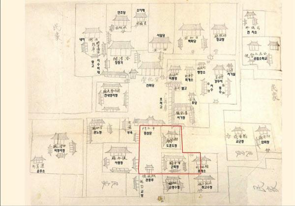 1907년도 경상감영이 있던 곳의 지도. 서울대 규장각이 소장하고 있다. /대구시