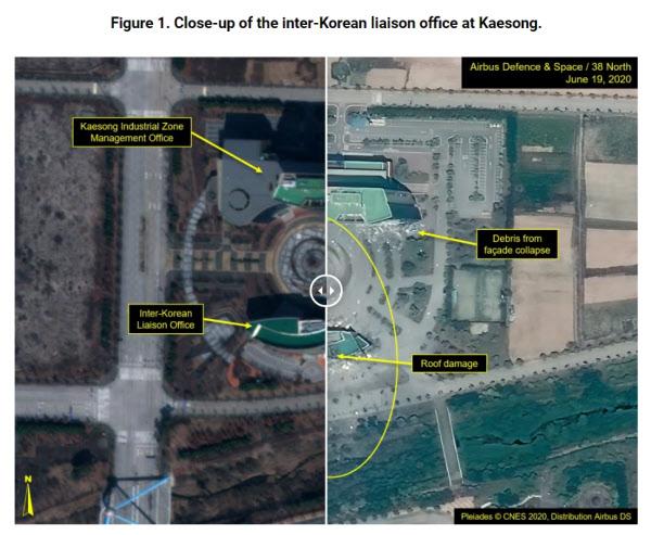 북한 개성 남북연락사무소가 폭파되기 이전과 이후의 사진을 비교한 것. 왼쪽이 북한의 폭파 전, 오른쪽은 폭파 후 찍힌 사진이다./38노스 홈페이지