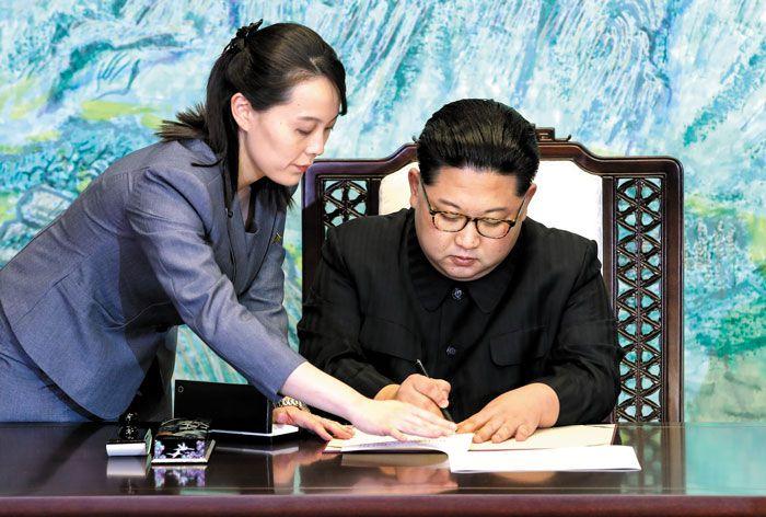 김여정(왼쪽), 김정은