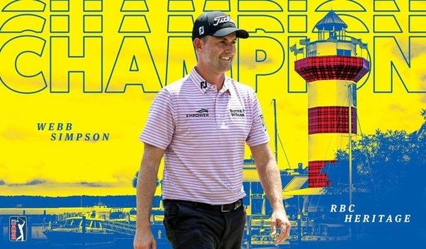웹 심프슨이 RBC 헤리티지서 시즌 2승째이자 통산 7승째를 달성했다./PGA 투어 트위터