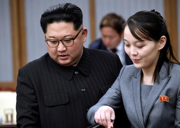 지난 2018년 4월 남북정상회담을 위해 판문점 평화의집을 찾은 김정은과 김여정 /로이터 연합뉴스