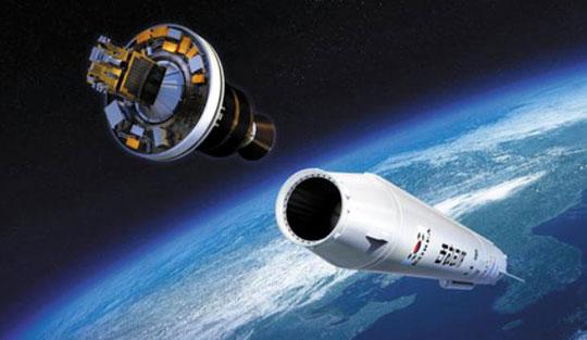 위성을 실은 킥모터가 발사체 나로호에서 분리되는 가상도.