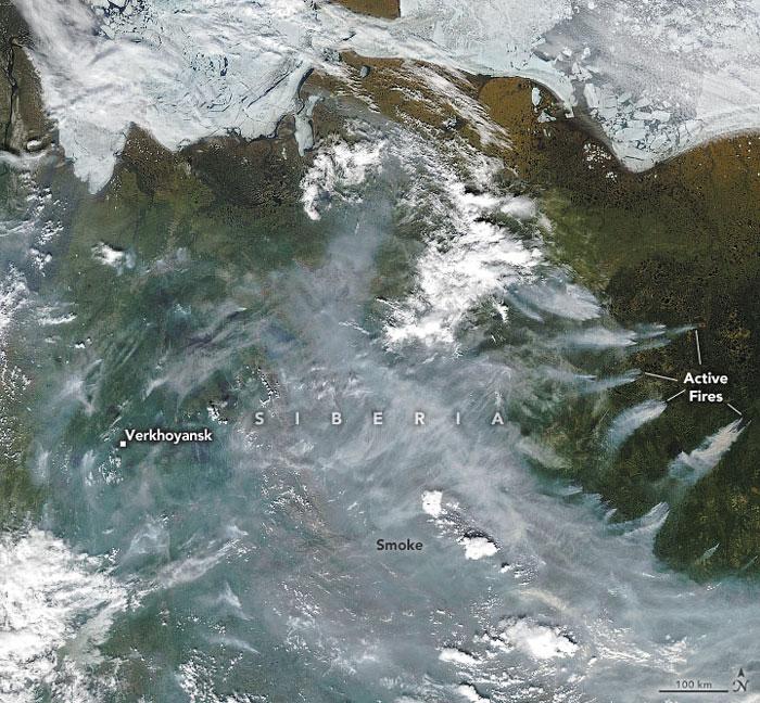 NASA가 위성으로 촬영한 시베리아 지역의 모습.