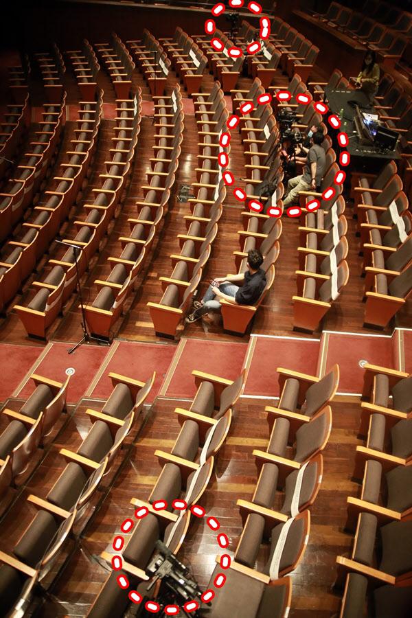 명동예술극장 객석에는 꽉찬 관객 대신 카메라 6대가 놓였다.(붉은색 원 안) 무대를 바라보며 1층 객석 중앙쯤인 9열을 기준으로 우측에 1대, 중앙에 3대, 좌측에 1대가 놓였고, 좌측 1열에 클로즈업용 카메라도 설치됐다. /이태훈 기자