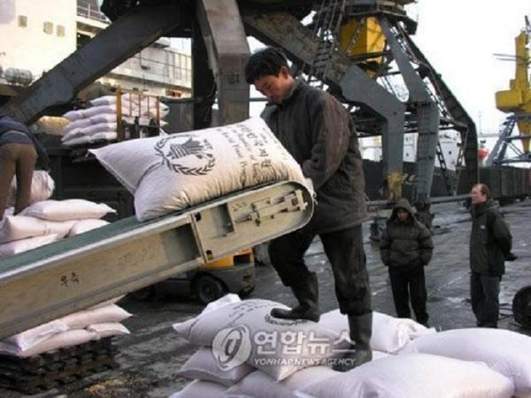 과거 우리정부가 제공한 쌀이 WFP를 통해 북한에서 하역되고 있다./연합뉴스