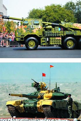 중국군이 히말라야 국경 분쟁 지역에 배치한 산악 지형용 155㎜ 곡사포 PCL-181(위)과 인도군이 접경 지역에 배치한 T-90 계열 비슈마 전차(아래).