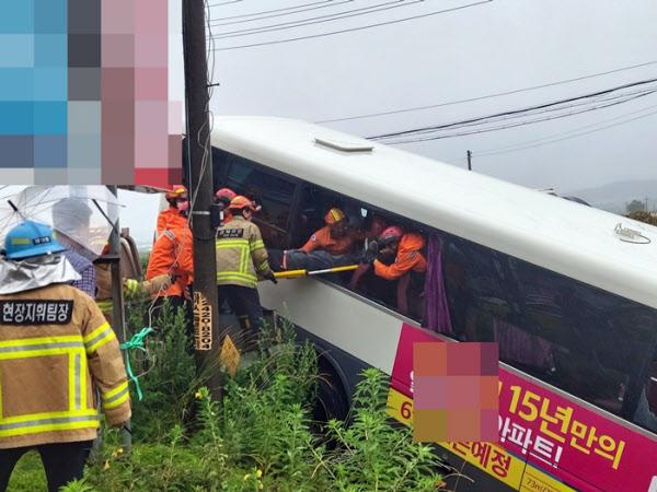 30일 오전 8시20분쯤 충북 진천군 이월면의 한 도로에서 용인과 진천을 오가는 여객버스가 다리 3m 아래 하천으로 추락했다. 119구조대가 승객을 구조하고 있다. /충북도소방본부