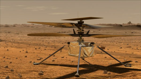 화성 표면에 있는 헬리콥터 인저뉴어티. 지구 공기 밀도의 1%에 불과한 화성에서 양력을 얻기 위해 날개 회전속도를 지구의 10배로 높여야 한다./NASA