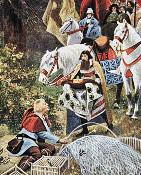 919년 동프랑크왕국 국왕 콘라트가 하인리히에게 왕위를 물려주기로 했다는 소식을 사자(使者)가 전하러 갔을 때 그는 새 사냥용 그물을 손보고 있던 중이었다.