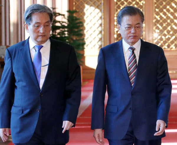 문재인 대통령(오른쪽)과 노영민 비서실장. /조선일보DB