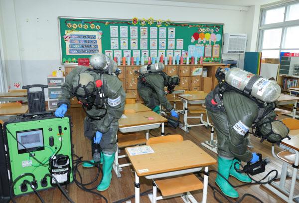 지난 2일 국군화생방사령부 시설내부방역팀이 3명의 코로나 확진 학생이 나온 대전천동초 교실에서 정밀 제독작업을 하고 있다. /대전시