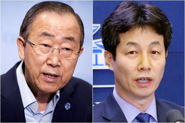 반기문(왼쪽) 전 유엔사무총장과 윤건영 더불어민주당 의원./연합뉴스