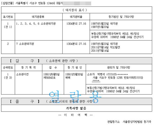 박병석 의장의 서울 서초구 반포동 재건축 아파트 등기. 박 의장은 1991년부터 이 아파트를 소유했다./조선일보DB