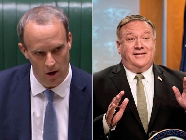 도미닉 라브(왼쪽) 영국 외교장관과 마이크 폼페이오 미 국무장관. /AFP 로이터 연합뉴스