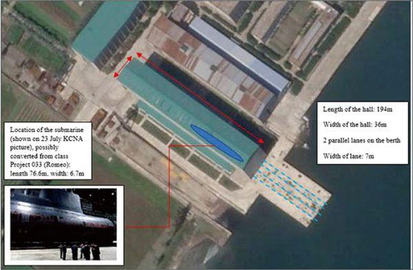북 신포조선소의 대형 잠수함 조립건물. 길이 194m로 3000t급 신형 잠수함 3척을 동시에 건조할 수 있을 것으로 추정된다./유엔 안보리 대북제재위 보고서