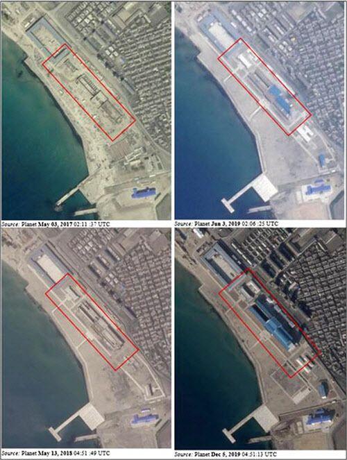 북 신포조선소 잠수함 훈련 센터가 2017년부터 지난해말까지 단계적으로 건설된 모습을 보여주는 위성 사진들. 오른쪽 아래가 지난해말 모습이다./유엔 안보리 대북제재위 보고서
