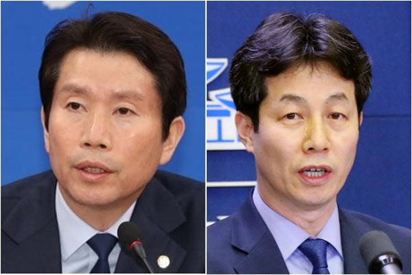 이인영(왼쪽) 통일부 장관 후보자와 더불어민주당 윤건영 의원./연합뉴스