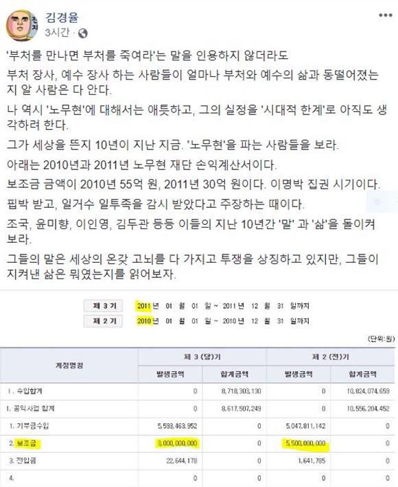 김경율 경제민주주의 21 대표 페이스북 글